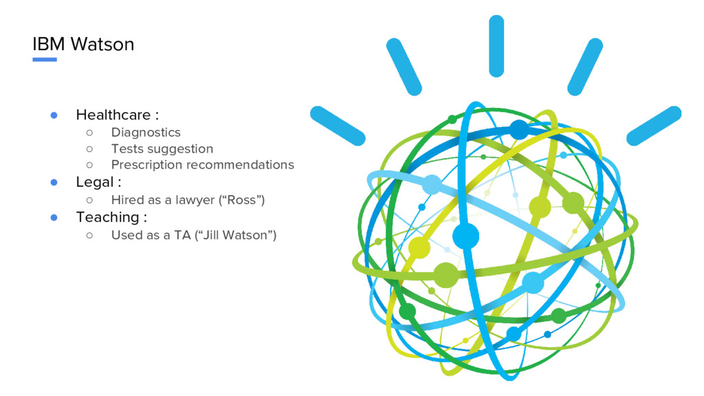 IBM Watson ● Healthcare : ○ Diagnostics ○ Tests...