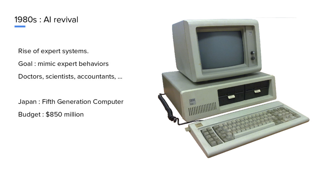 1980s : AI revival Rise of expert systems. Goal...