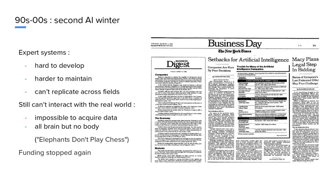 90s-00s : second AI winter Expert systems : - h...