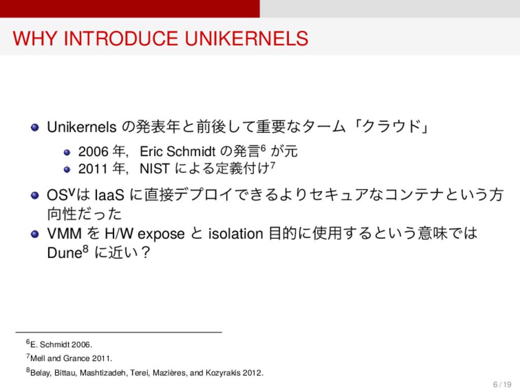 WHY INTRODUCE UNIKERNELS Unikernels の発表年と前後して重要...
