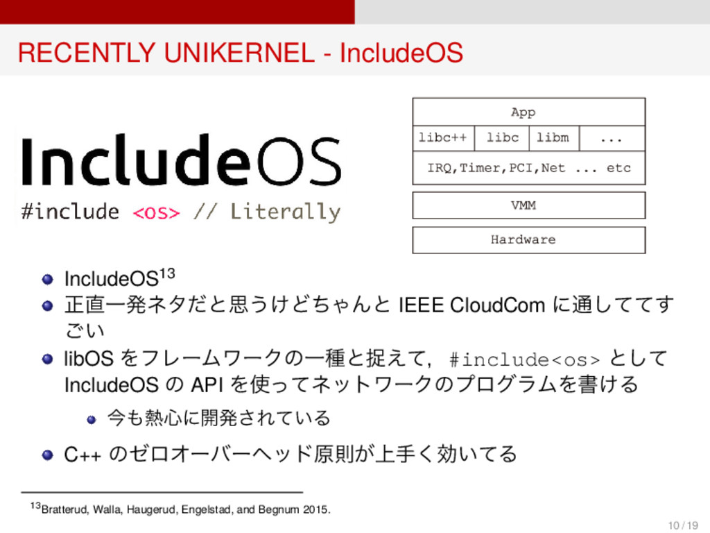 RECENTLY UNIKERNEL - IncludeOS IncludeOS13 正直一発...