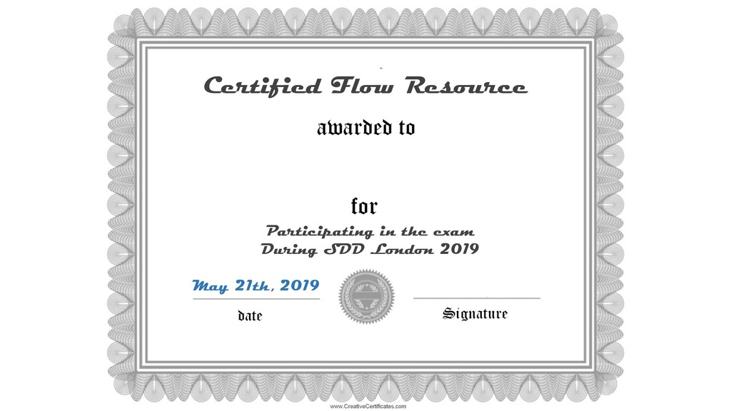 Certified Flow Resource May 21th, 2019 Particip...