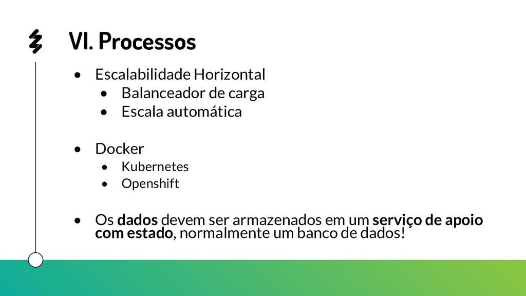 VI. Processos • Escalabilidade Horizontal • Bal...
