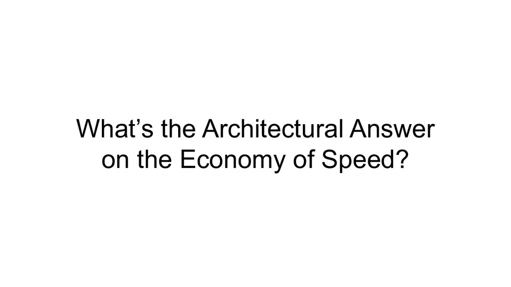 What's the Architectural Answer on the Economy ...