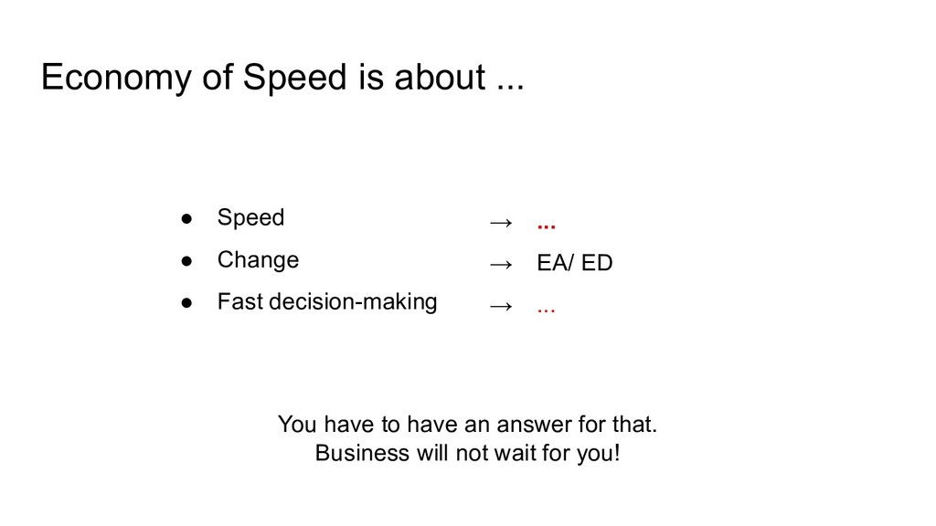 Economy of Speed is about ... ● Speed ● Change ...