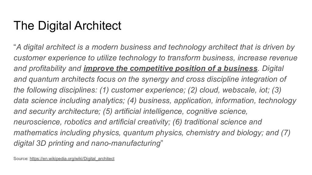 "The Digital Architect ""A digital architect is a..."