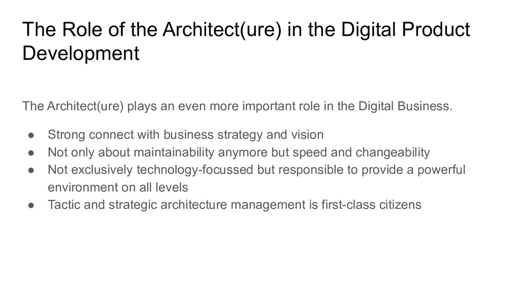 The Role of the Architect(ure) in the Digital P...