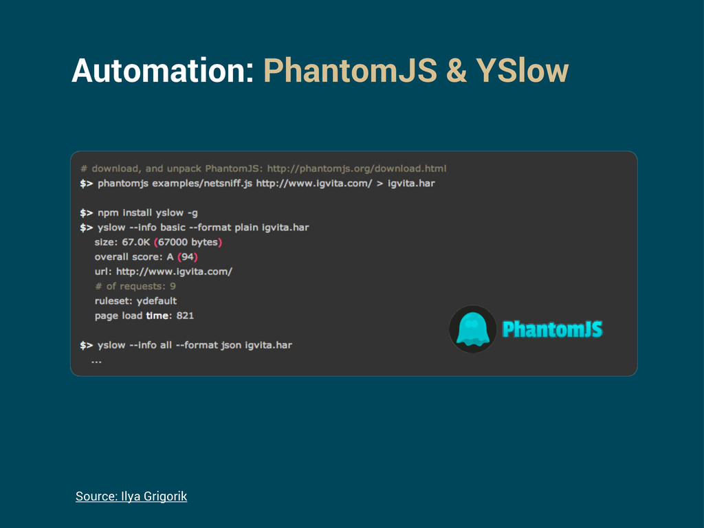 Automation: PhantomJS & YSlow Source: Ilya Grig...