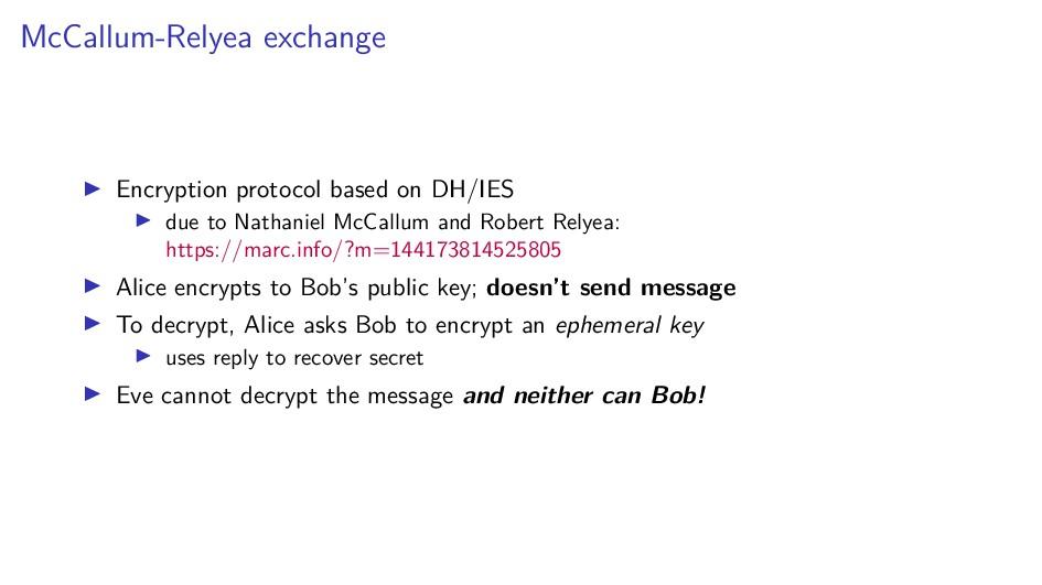 McCallum-Relyea exchange Encryption protocol ba...