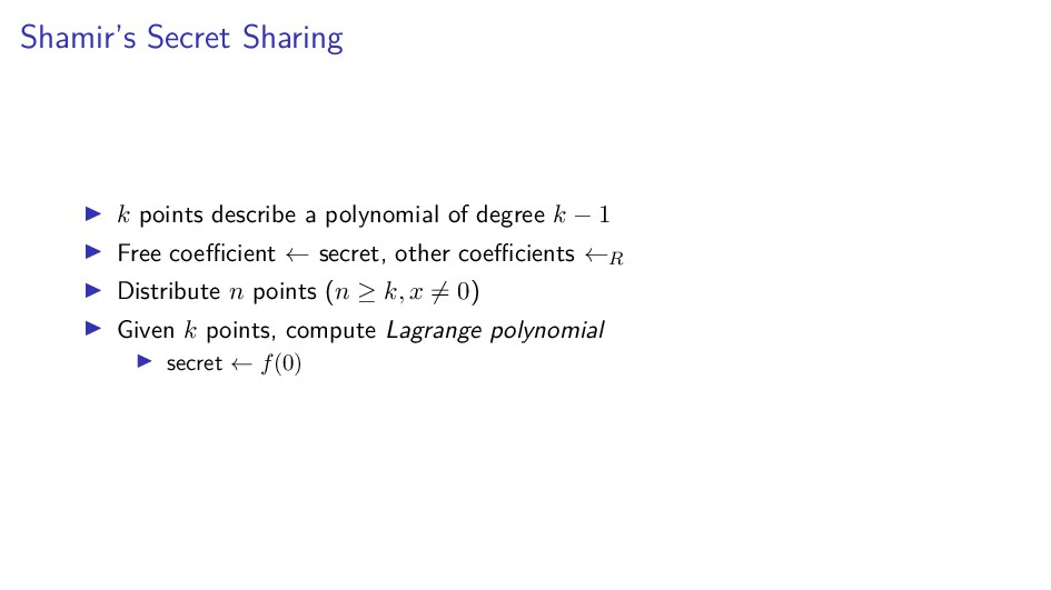 Shamir's Secret Sharing k points describe a pol...