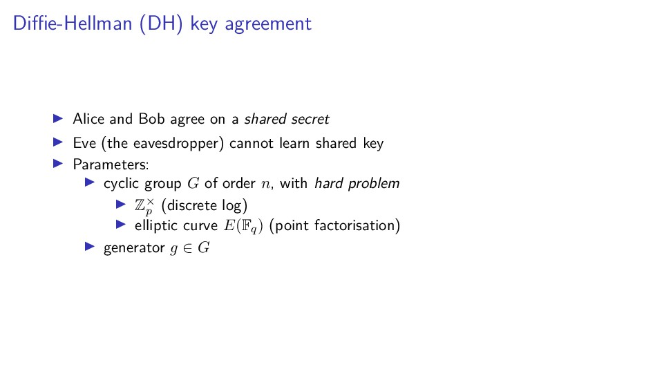 Diffie-Hellman (DH) key agreement Alice and Bob a...