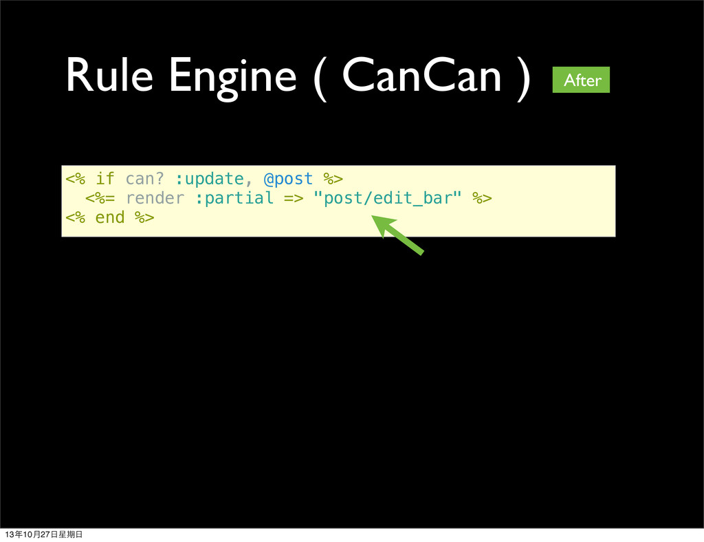 Rule Engine ( CanCan ) <% if can? :update, @pos...