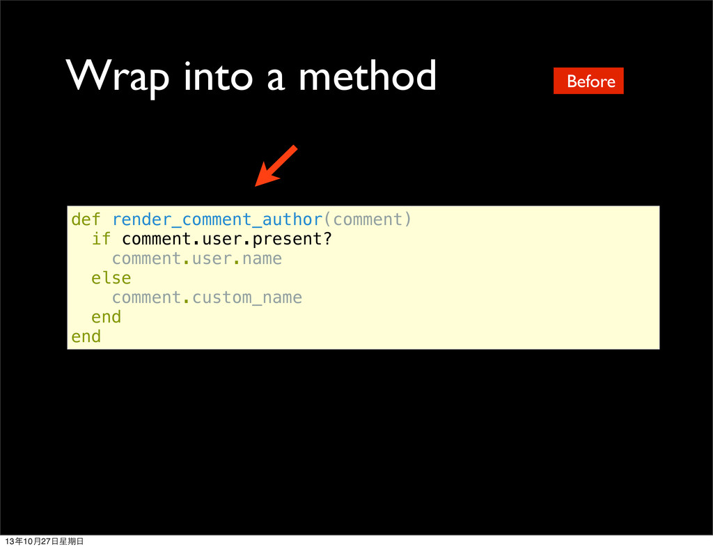Wrap into a method def render_comment_author(co...