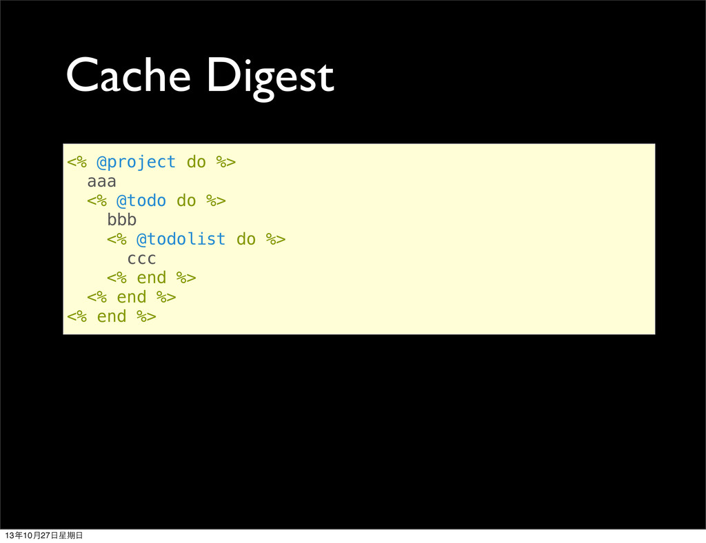 Cache Digest <% @project do %> aaa <% @todo do ...