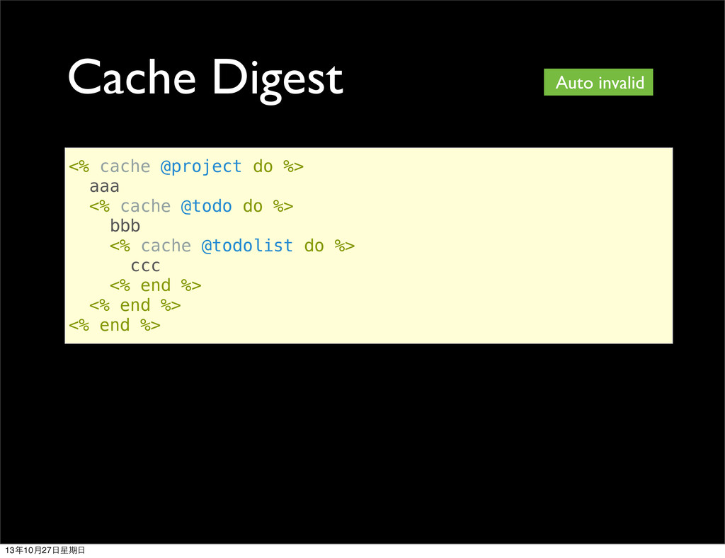 Cache Digest <% cache @project do %> aaa <% cac...