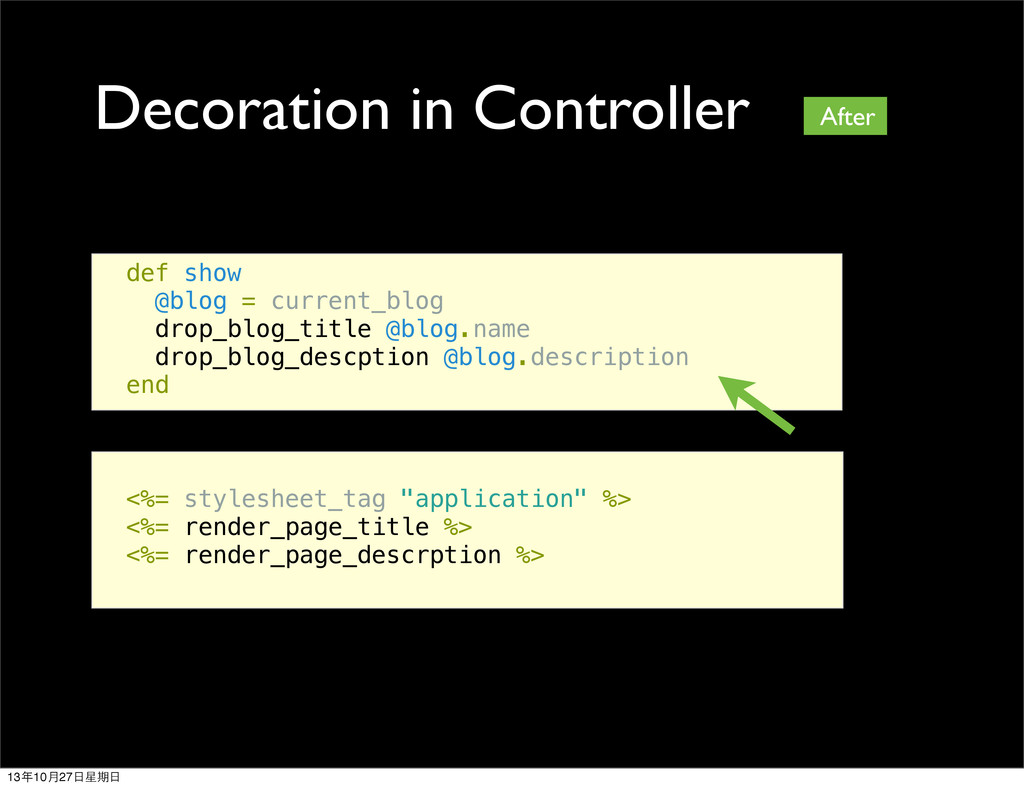Decoration in Controller def show @blog = curre...