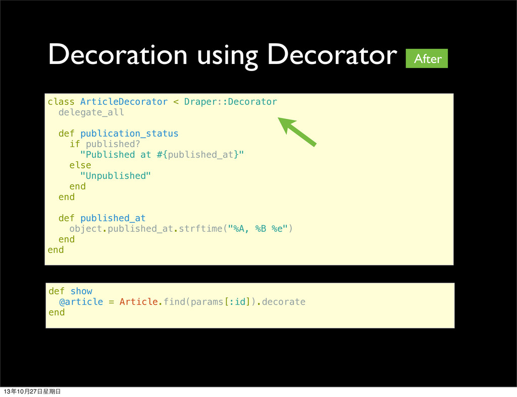 Decoration using Decorator class ArticleDecorat...