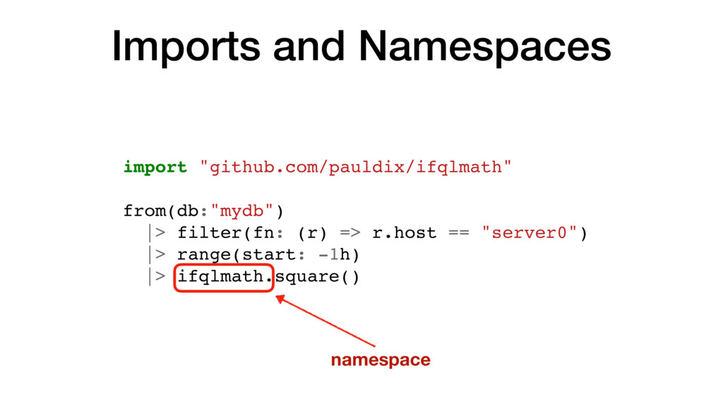 """Imports and Namespaces import """"github.com/pauld..."""