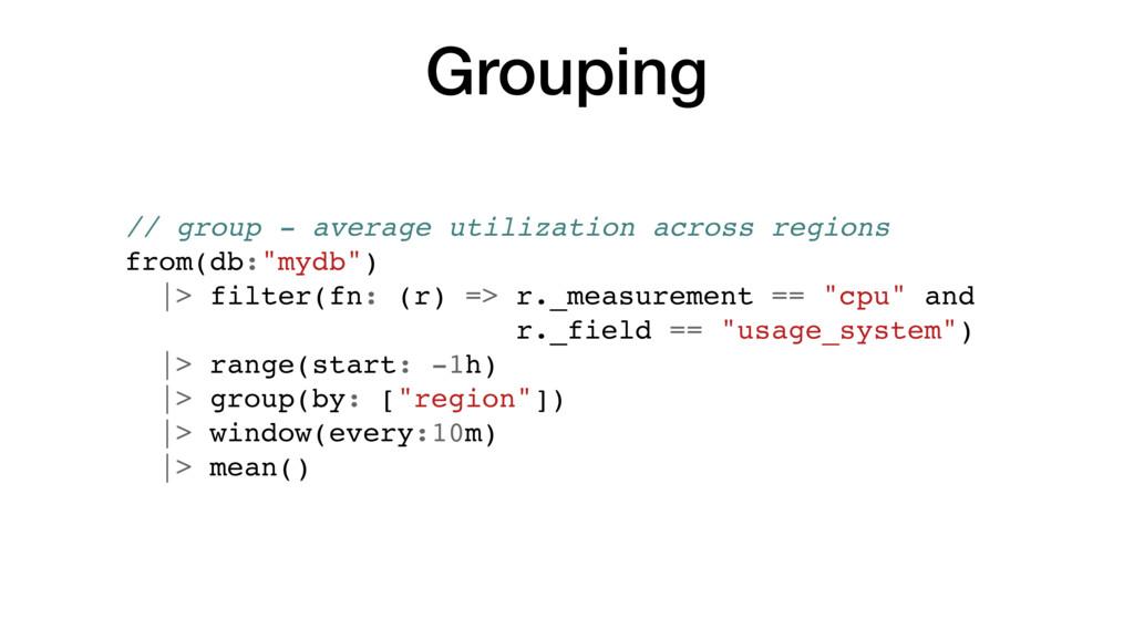 Grouping // group - average utilization across ...
