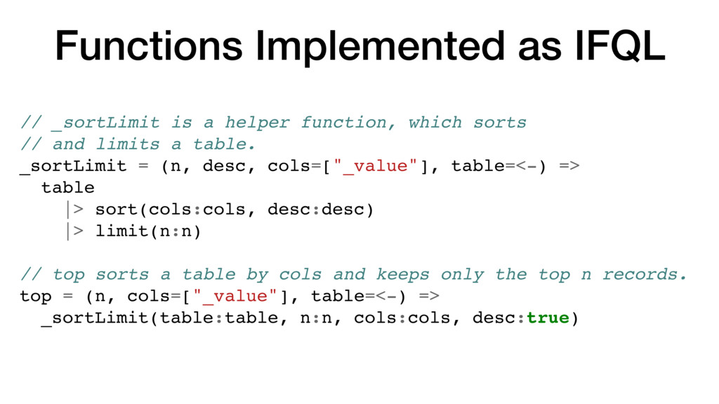 Functions Implemented as IFQL // _sortLimit is ...