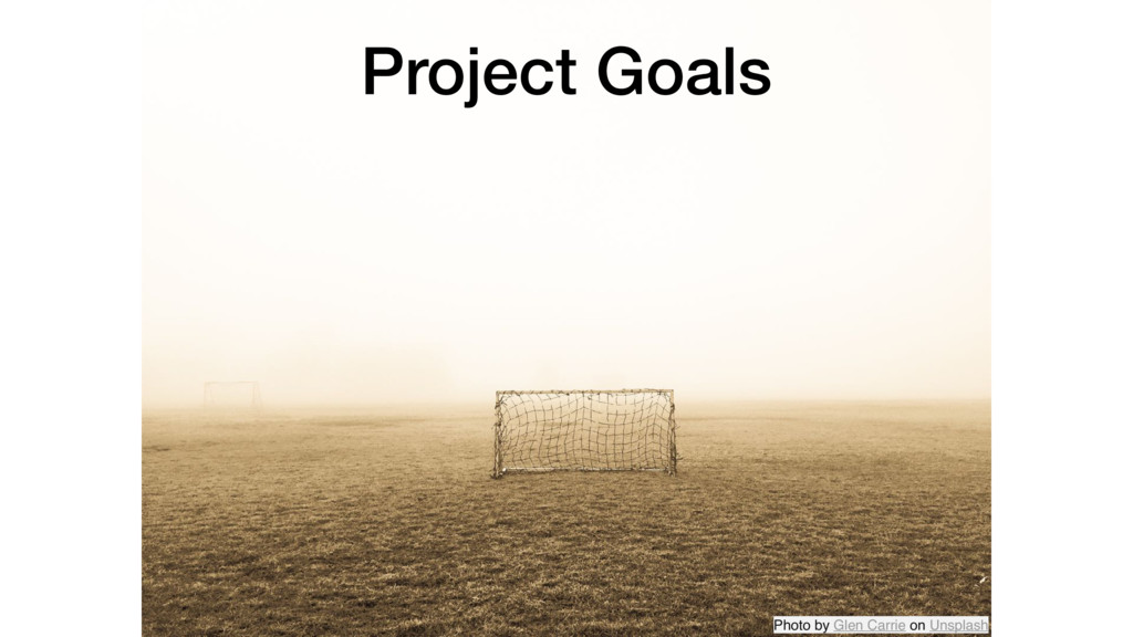 Project Goals Photo by Glen Carrie on Unsplash