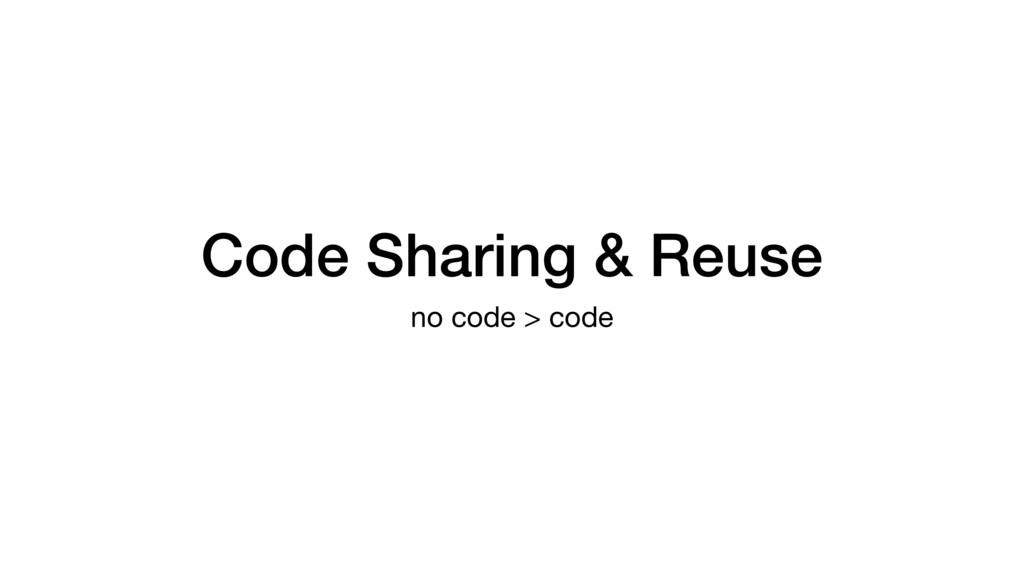 Code Sharing & Reuse no code > code