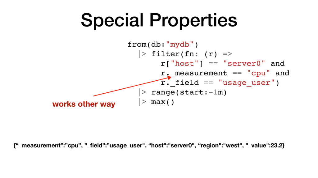 """Special Properties works other way from(db:""""myd..."""