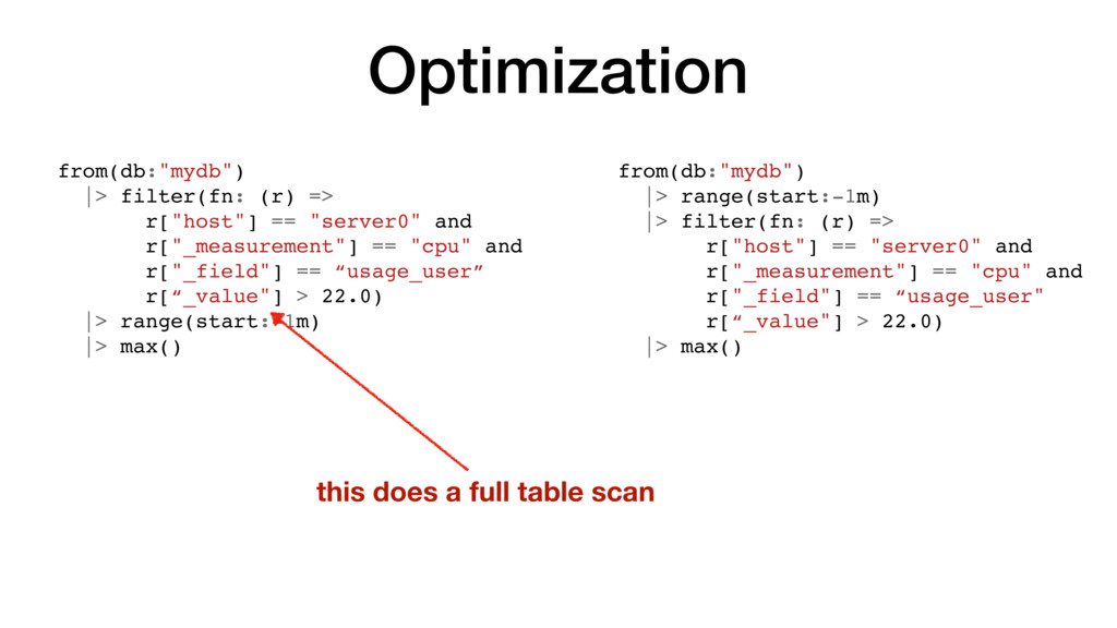 "Optimization from(db:""mydb"") |> filter(fn: (r) ..."