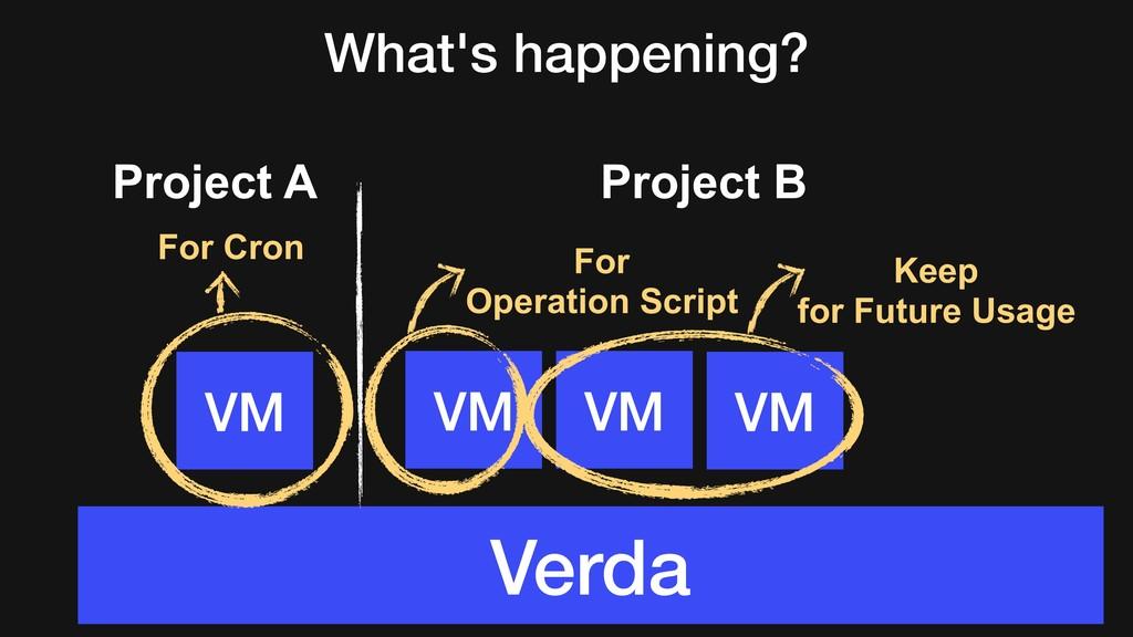 What's happening? VM VM VM Verda VM Project B P...