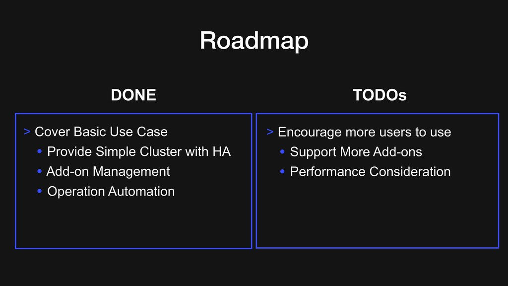 Roadmap > Cover Basic Use Case • Provide Simple...