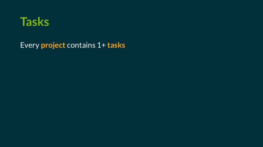 Tasks Every project contains 1+ tasks