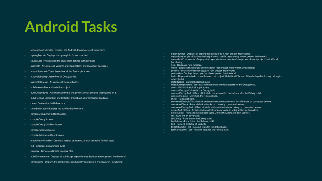 Android Tasks • androidDependencies - Displays ...