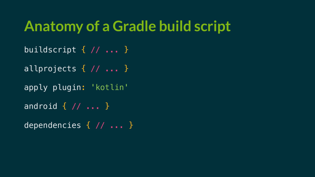Anatomy of a Gradle build script buildscript { ...