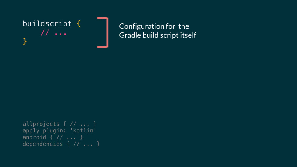 buildscript { // ... } Configuration for the Gr...