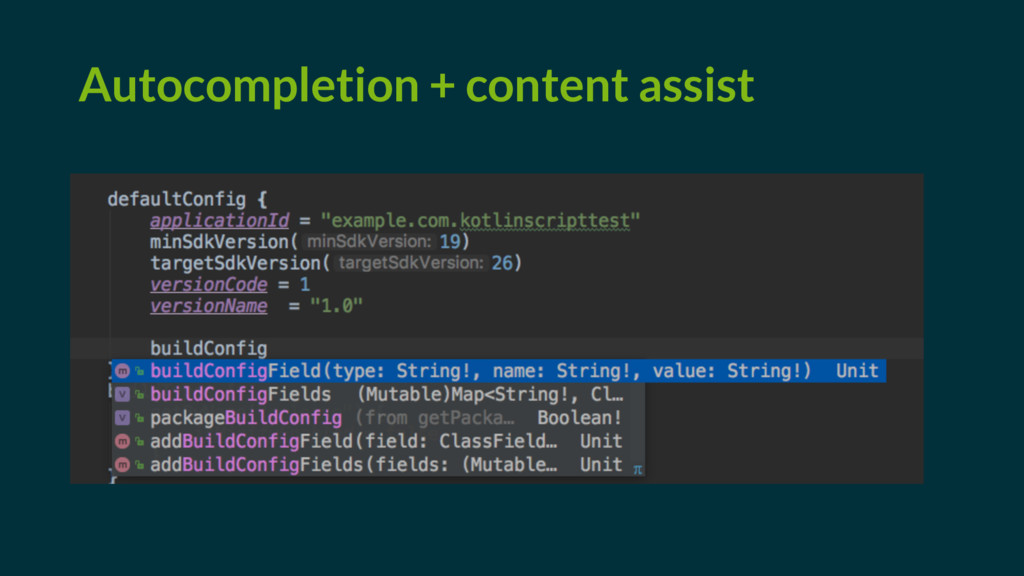 Autocompletion + content assist