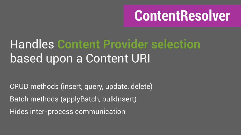 ContentResolver Handles Content Provider select...