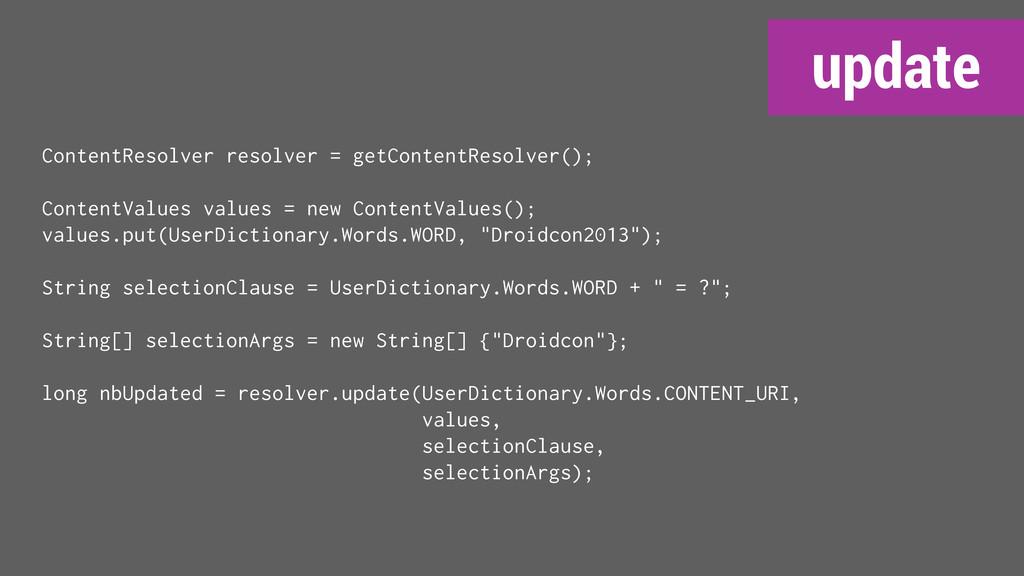 update ContentResolver resolver = getContentRes...