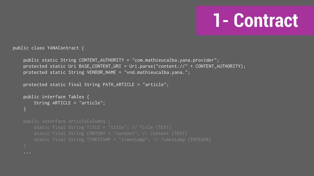 1- Contract public class YANAContract { public ...