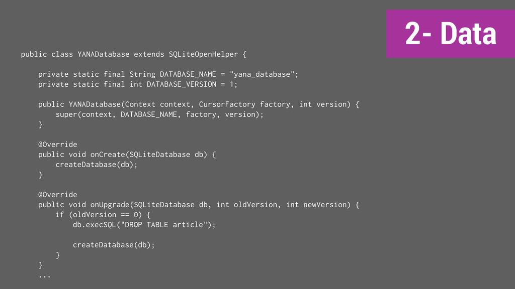 2- Data public class YANADatabase extends SQLit...