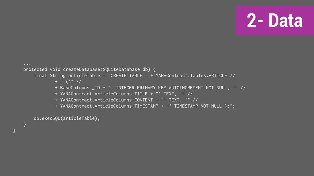 2- Data ... protected void createDatabase(SQLit...