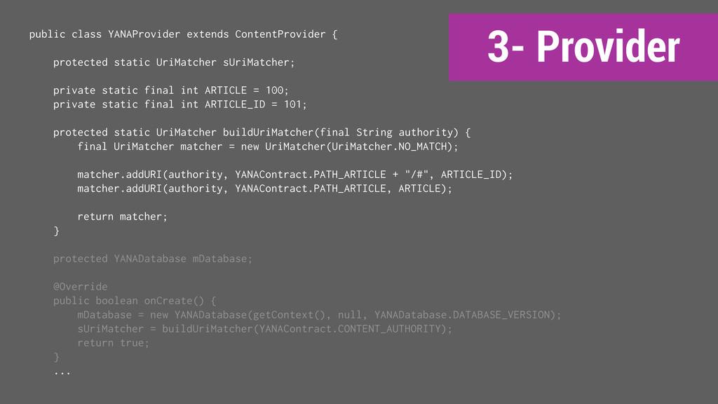 3- Provider public class YANAProvider extends C...