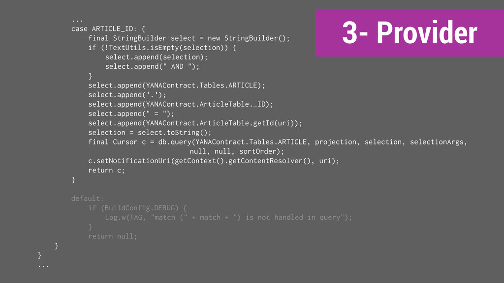 3- Provider ... case ARTICLE_ID: { final String...