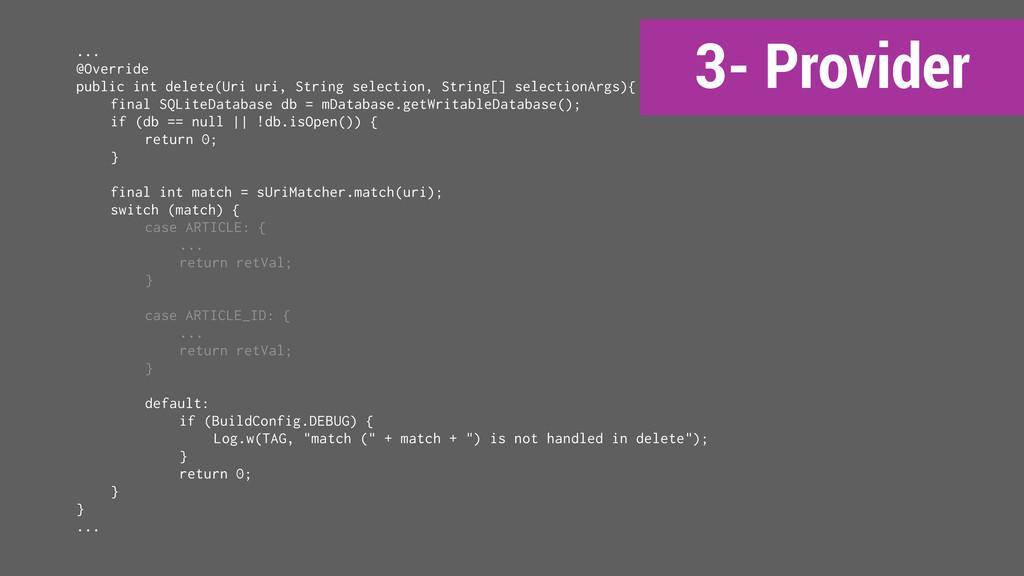 3- Provider ... @Override public int delete(Uri...