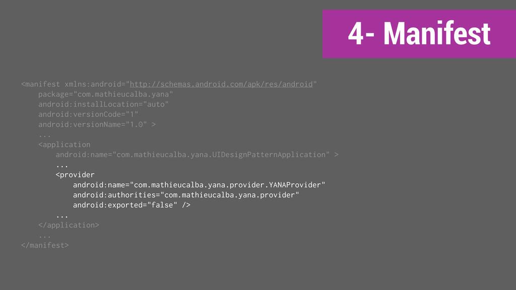 """4- Manifest <manifest xmlns:android=""""http://sch..."""