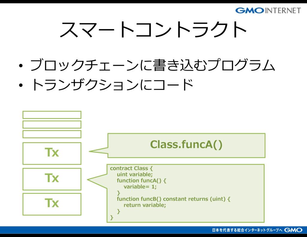 • ブロックチェーンに書き込むプログラム • トランザクションにコード Tx contract...