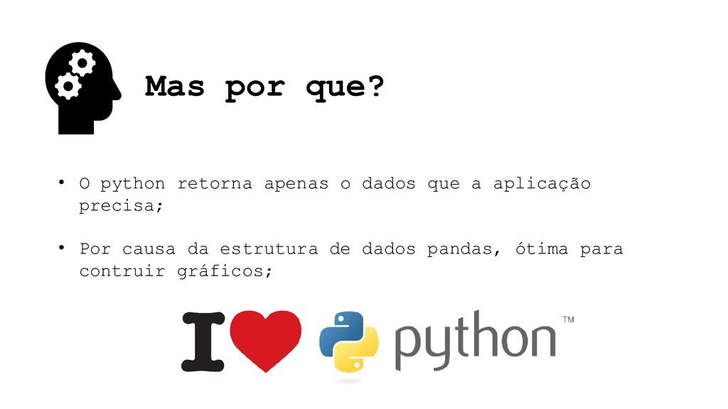 Mas por que? • O python retorna apenas o dados ...