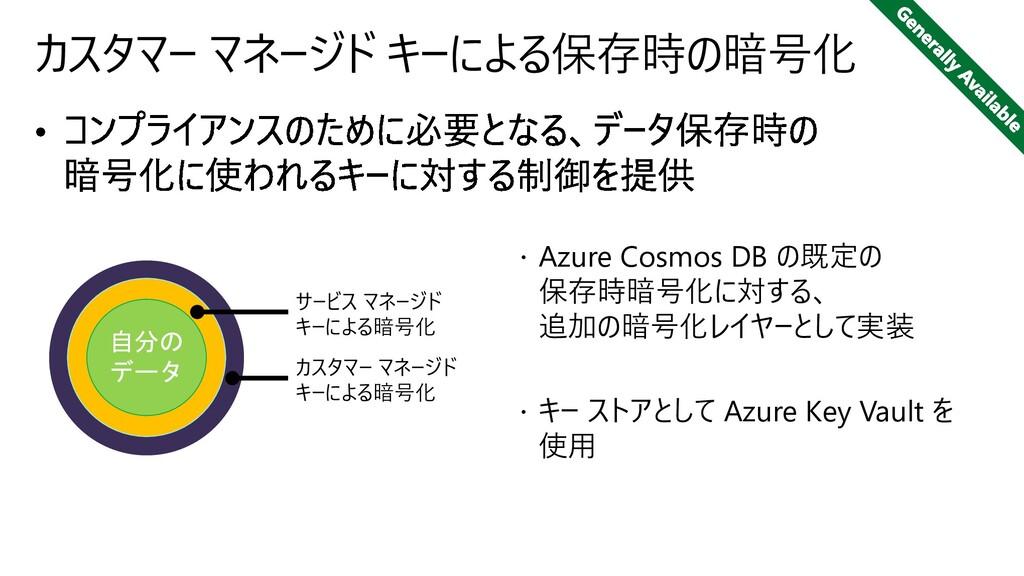 カスタマー マネージド キーによる保存時の暗号化  Azure Cosmos DB の既定の...