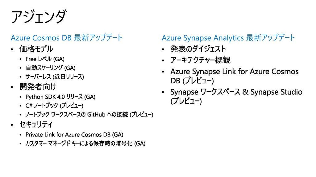 Azure Cosmos DB 最新アップデート アジェンダ Azure Synapse An...