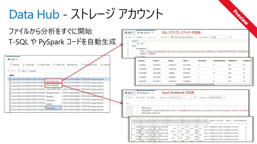 Data Hub - ストレージ アカウント ファイルから分析をすぐに開始 T-SQL や P...