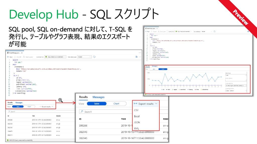 Develop Hub - SQL スクリプト
